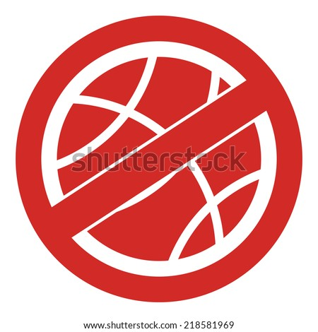 Red Circle No Playing or No Sport Sign, Icon or Label Isolate on White Background  - stock photo