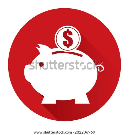 Red Circle Piggy Bank With Dollar Currency Coin Flat Long Shadow Style Icon, Label, Sticker, Sign or Banner Isolated on White Background - stock photo