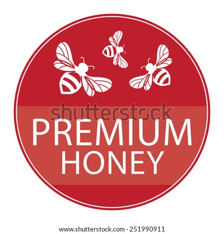 Red Circle Shape Vintage Style Premium Honey Icon, Button or Label Isolated on White Background  - stock photo