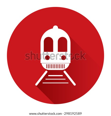 Red Circle Train, Subway Station or Railway Station Flat Long Shadow Style Icon, Label, Sticker, Sign or Banner Isolated on White Background - stock photo