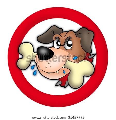 Red circle with angry dog - color illustration. - stock photo