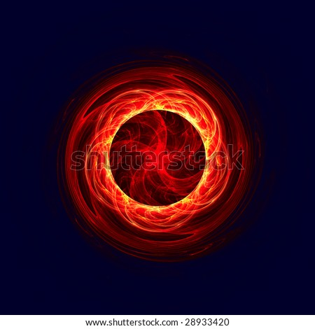 red circle with pentagram. fractal rendered - stock photo