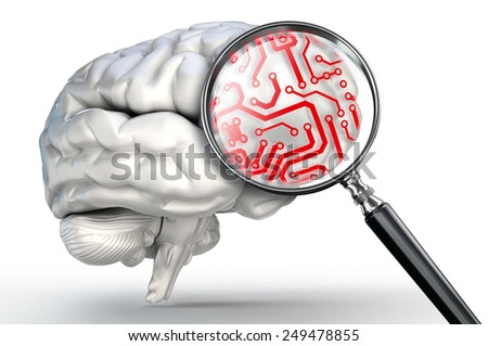 red circuit on magnifying glass and human brain on white background - stock photo