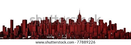 Red city panorama, easy to colorize - stock photo
