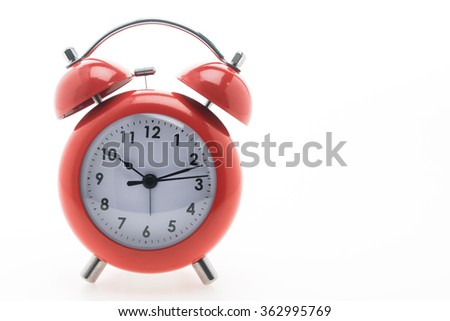 Red Classic Alarm clock isolated on white background