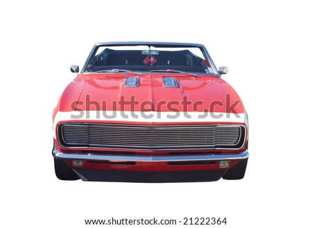 red, classic American convertible muscle car isolated on white - stock photo