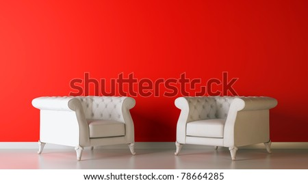 red classic 3d interior composition - stock photo