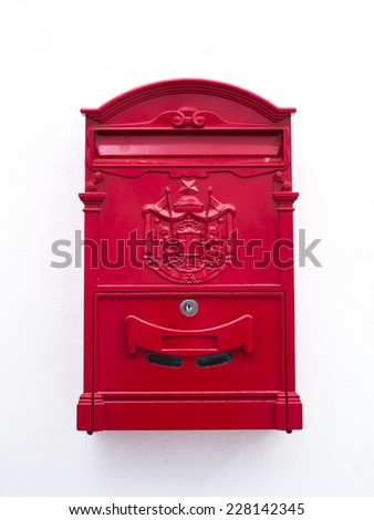 Red classic mailbox on isolate background - stock photo