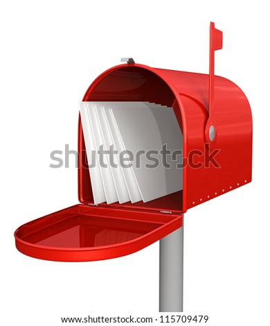 Red classic mailbox with mail - stock photo