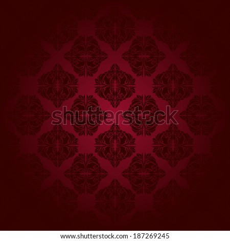 Red classic seamless pattern. Hand drawn illustration.