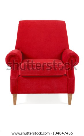 red classical armchair isolated on white - stock photo