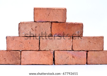 Red clay brick, isolated on white - stock photo