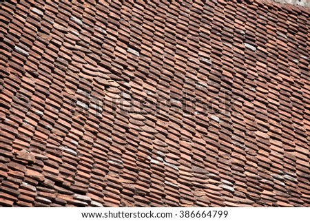 red clay tile roof pattern texture closeup - stock photo
