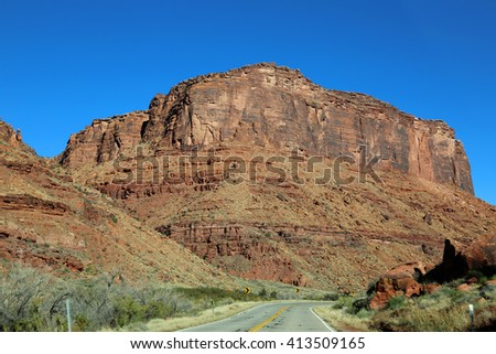 Red cliffs of Colorado River gorge  - Utah - stock photo