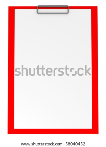 Red Clipboard isolated on white - 3d illustration - stock photo