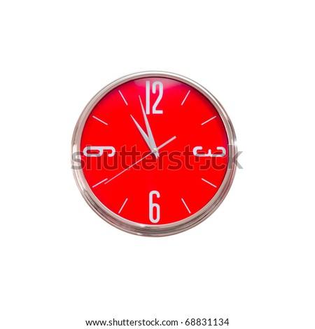 Red clock - stock photo