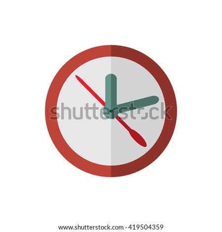 red clock, flat style raster illustration icon