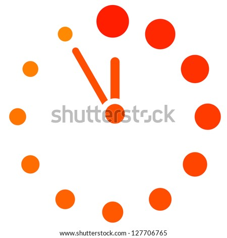 Red clock icon - stock photo