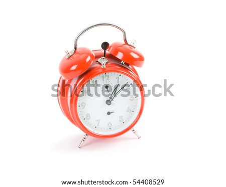 red clock isolate on white - stock photo