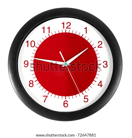 red clock on a white background - stock photo