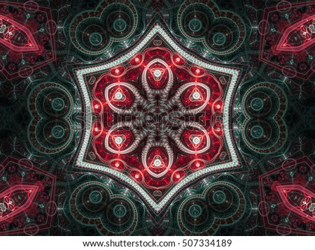 Red clockwork steampunk fractal mandala, digital artwork for creative graphic design