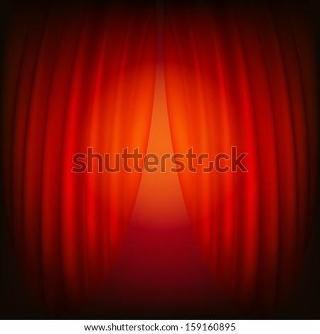 Red closed curtain, abstract background. Raster copy  - stock photo