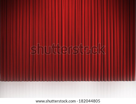 Red closed curtain with light spots in a theater - stock photo