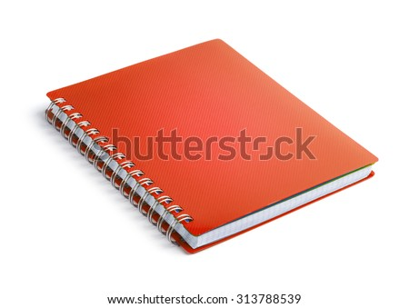 Red closed paper notepad isolated on white background - stock photo