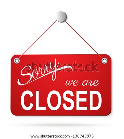 red closed sign on white. Raster copy of vector illustration - stock photo