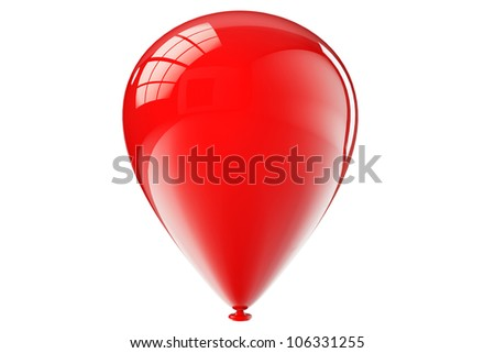 Red closeup balloon on a white background - stock photo
