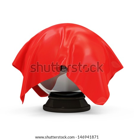 Red Cloth Covered Crystal Ball isolated on white background - stock photo
