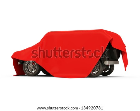 Red Cloth Covered Modern SUV Car on white background - stock photo