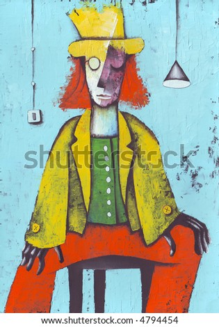 Red clown. Illustration by Eugene Ivanov. - stock photo