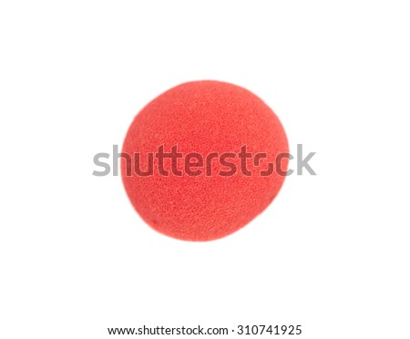 red clown nose isolated on white