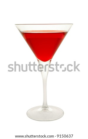 Red cocktail glass on a clean white background. - stock photo