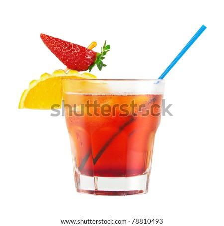 Red cocktail isolated on white - stock photo