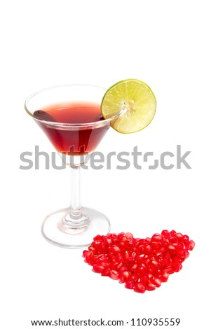 red cocktail pomegranate for good health  - stock photo