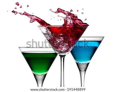 Red cocktail splash - stock photo