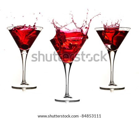 red cocktail splash collection isolated on a white background - stock photo