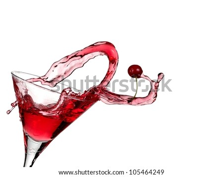 Red cocktail with a cherry up - stock photo