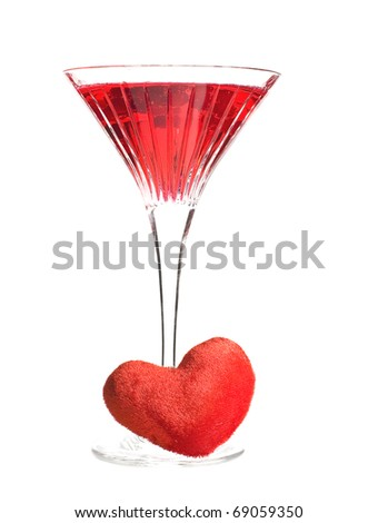 Red cocktail with a heart - stock photo