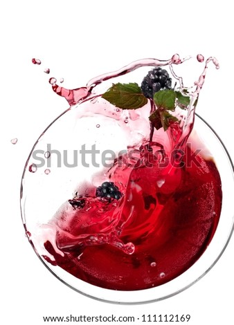 Red cocktail with blackberry and mint up, top view - stock photo