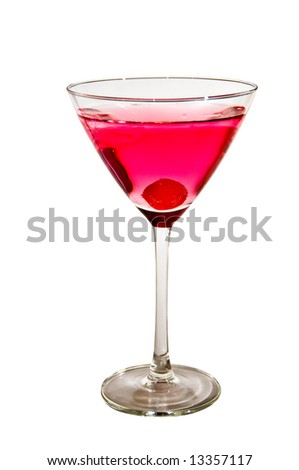Red cocktail with cherry on white background