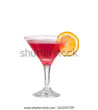 Red cocktail with  isolated on white - stock photo