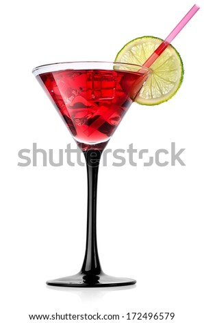 Red cocktail with lime isolated on white