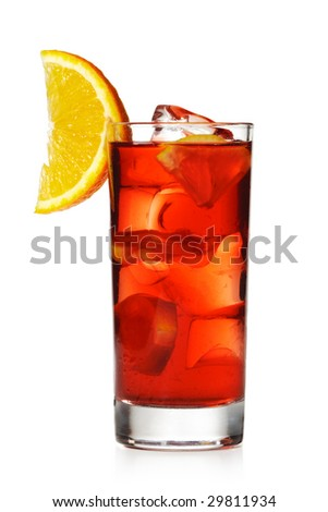 Red Cocktail with Orange Slice - stock photo