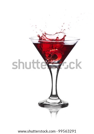 Red cocktail with splash isolated on white