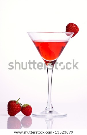 Red cocktail with strawberries on white background - stock photo