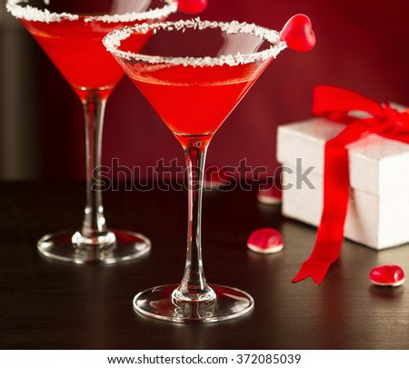 Red cocktails in martini glasses for Valentines day