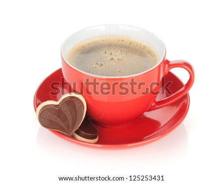 Red coffee cup and chocolate cookies. Isolated on white background - stock photo
